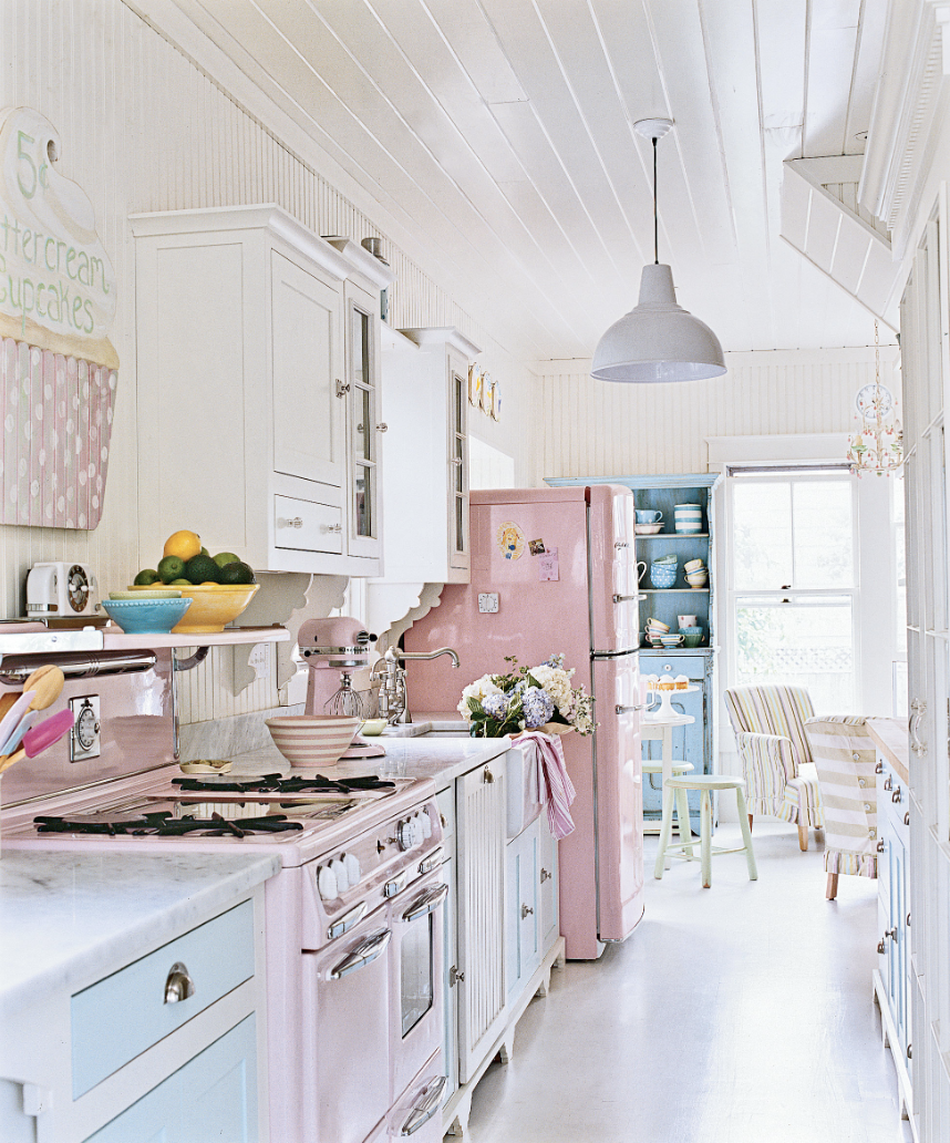 Retro Pink and Blue Kitchen