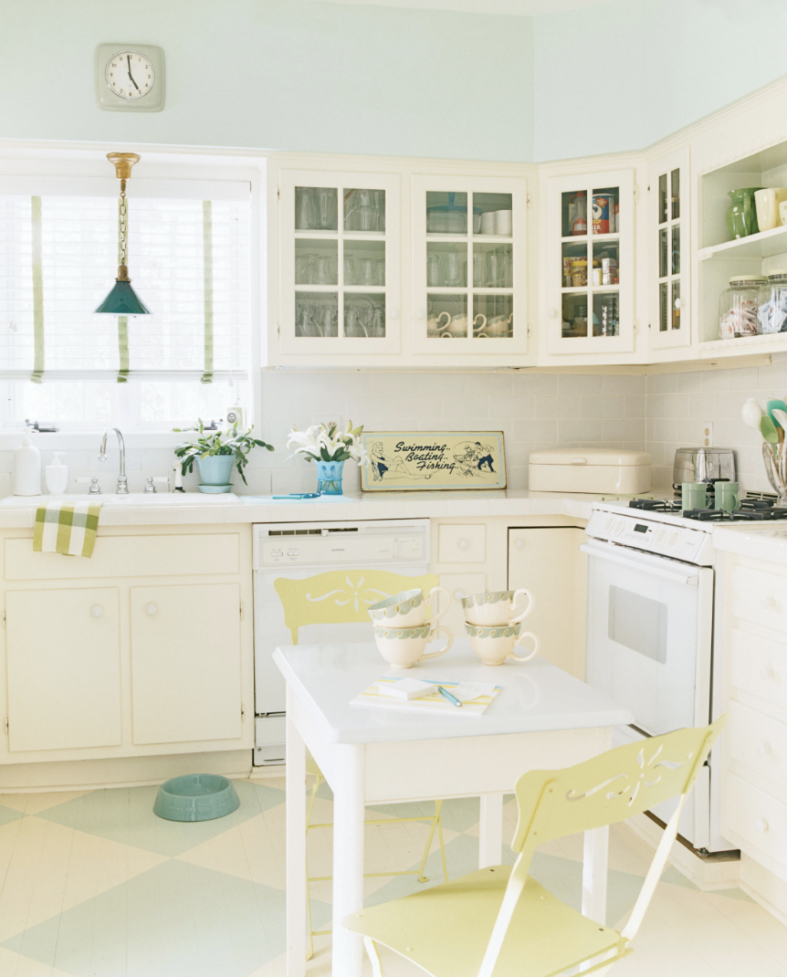 Lime Green and Pastel Kitchen