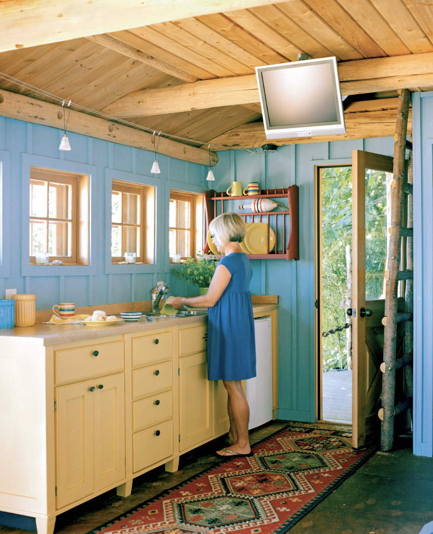 Blue and Wood Kitchen