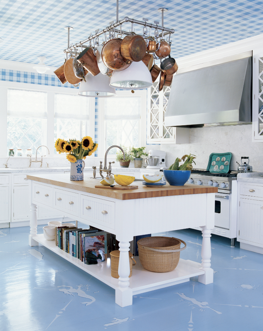 Blue and White Kitchen with Hanging Pots