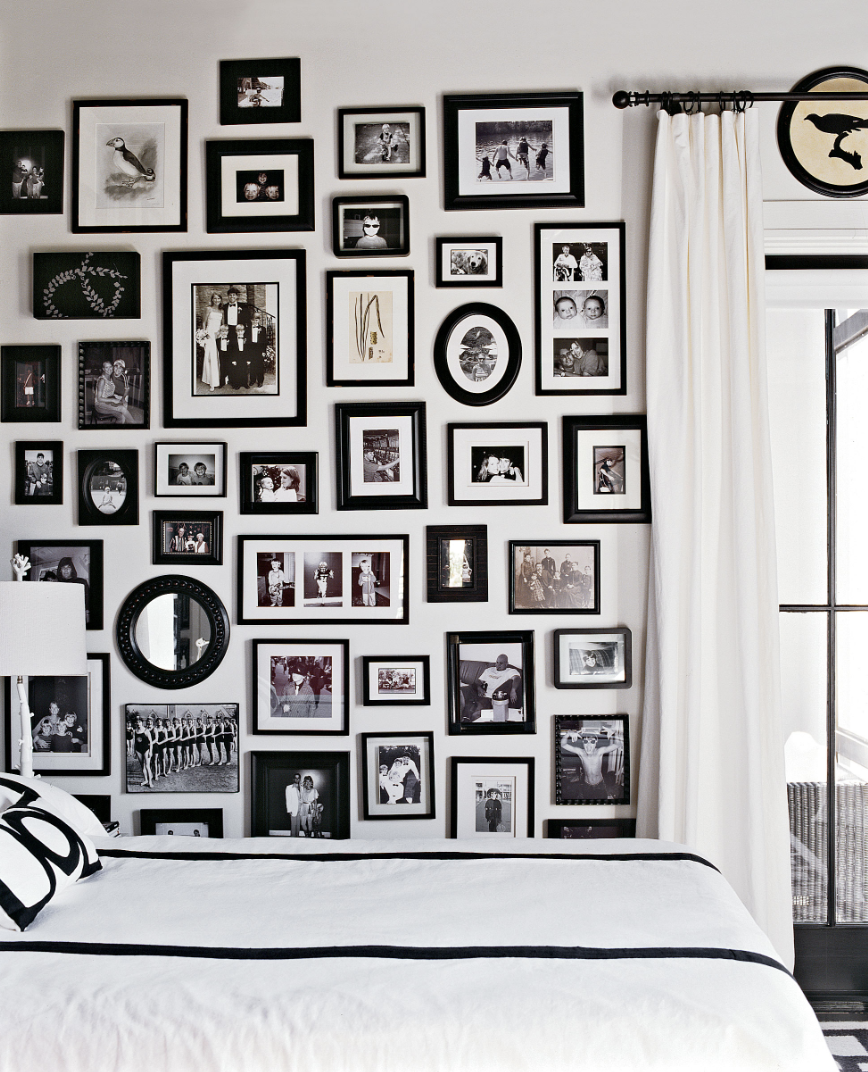 Black and White Photo Gallery Wall Bedroom