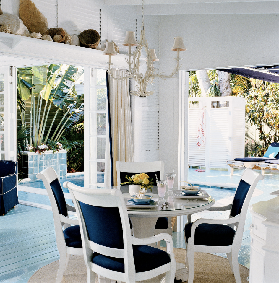 White and Navy Blue Dining Room Chairs