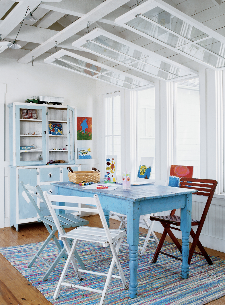 Blue Casual Dining Room Table