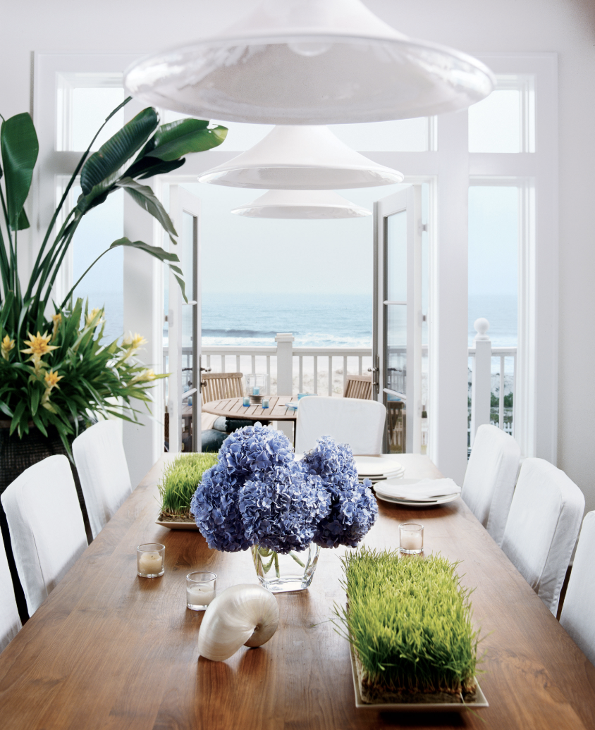 White Modern Dining Room With Florals