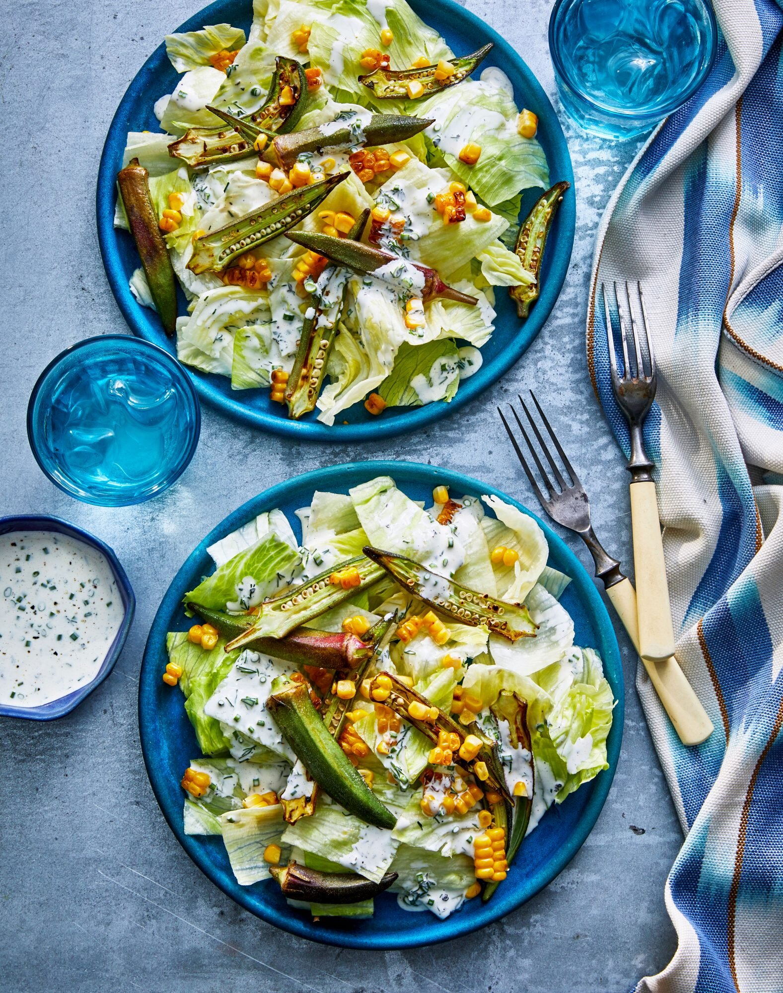Crunchy Okra-and-Corn Salad with Ranch Dressing