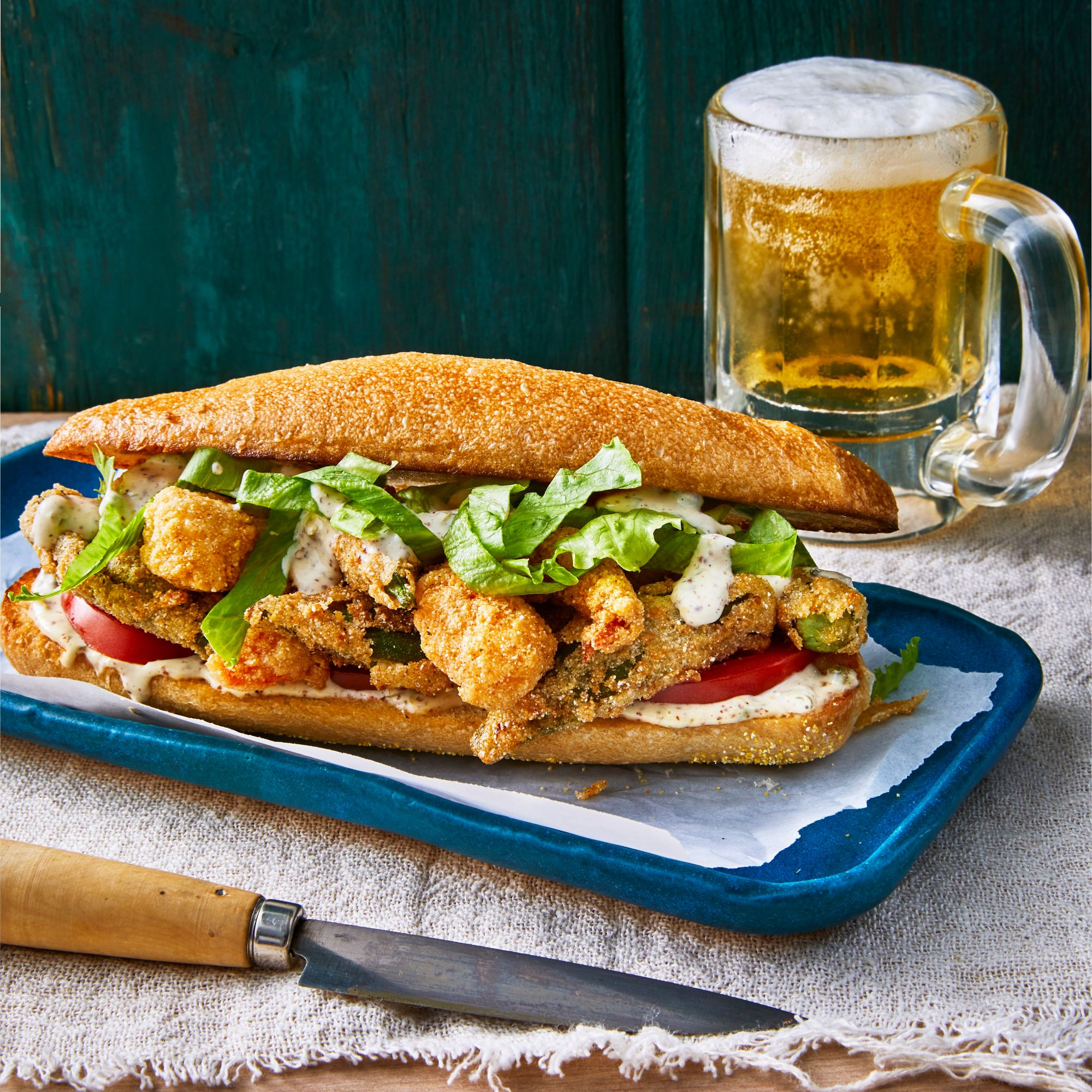 Fried Shrimp-and-Okra Po'Boys