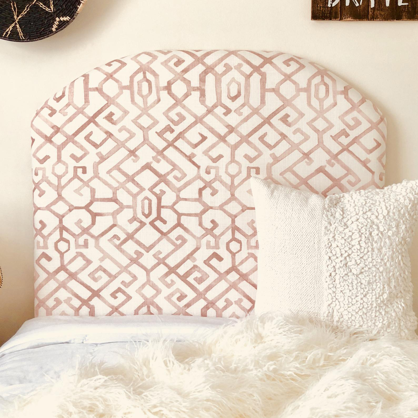 Pink and White Dorm Headboard