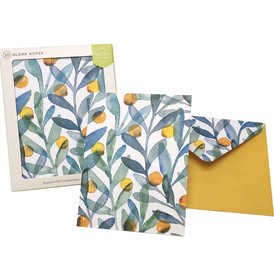 Green Inspired 10ct Citrus Sprigs Blank Cards