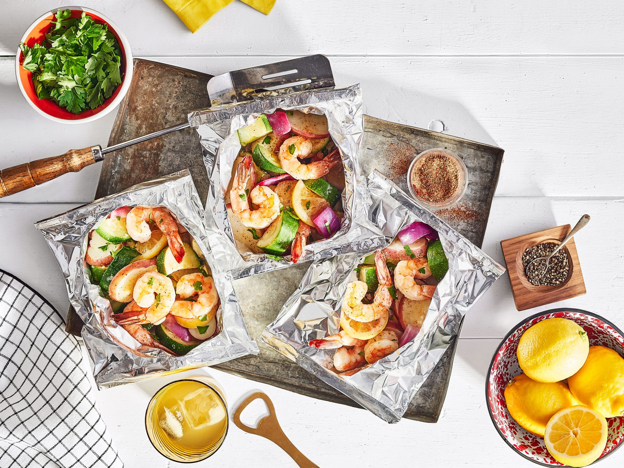 Cajun Shrimp Foil Packets with Red Potatoes and Zucchini