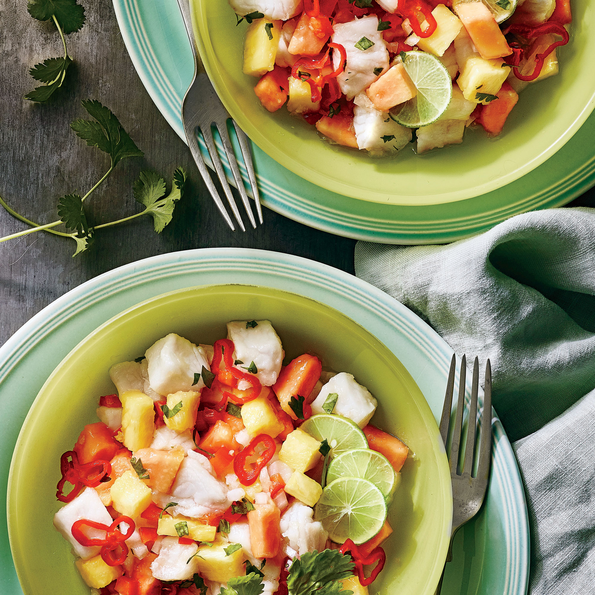 Lime and grapefruit juice pair deliciously with mango, pineapple, and red bell pepper in this island-inspired combo.