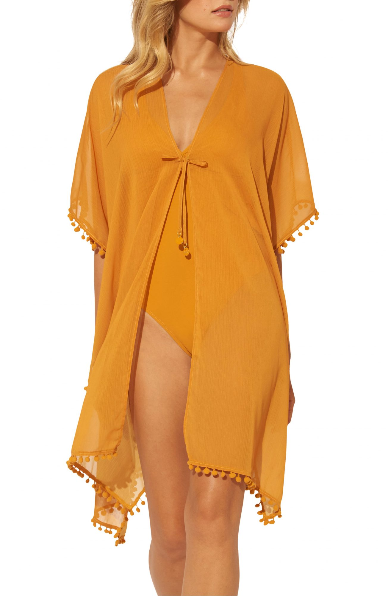 Gypset Pom Trim Cover-Up Caftan