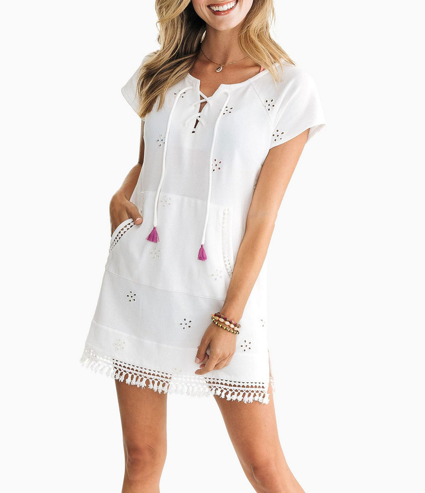 Southern Tide Aimee Tassel Trim Embroidered Eyelet Short Sleeve Cover-Up Tunic