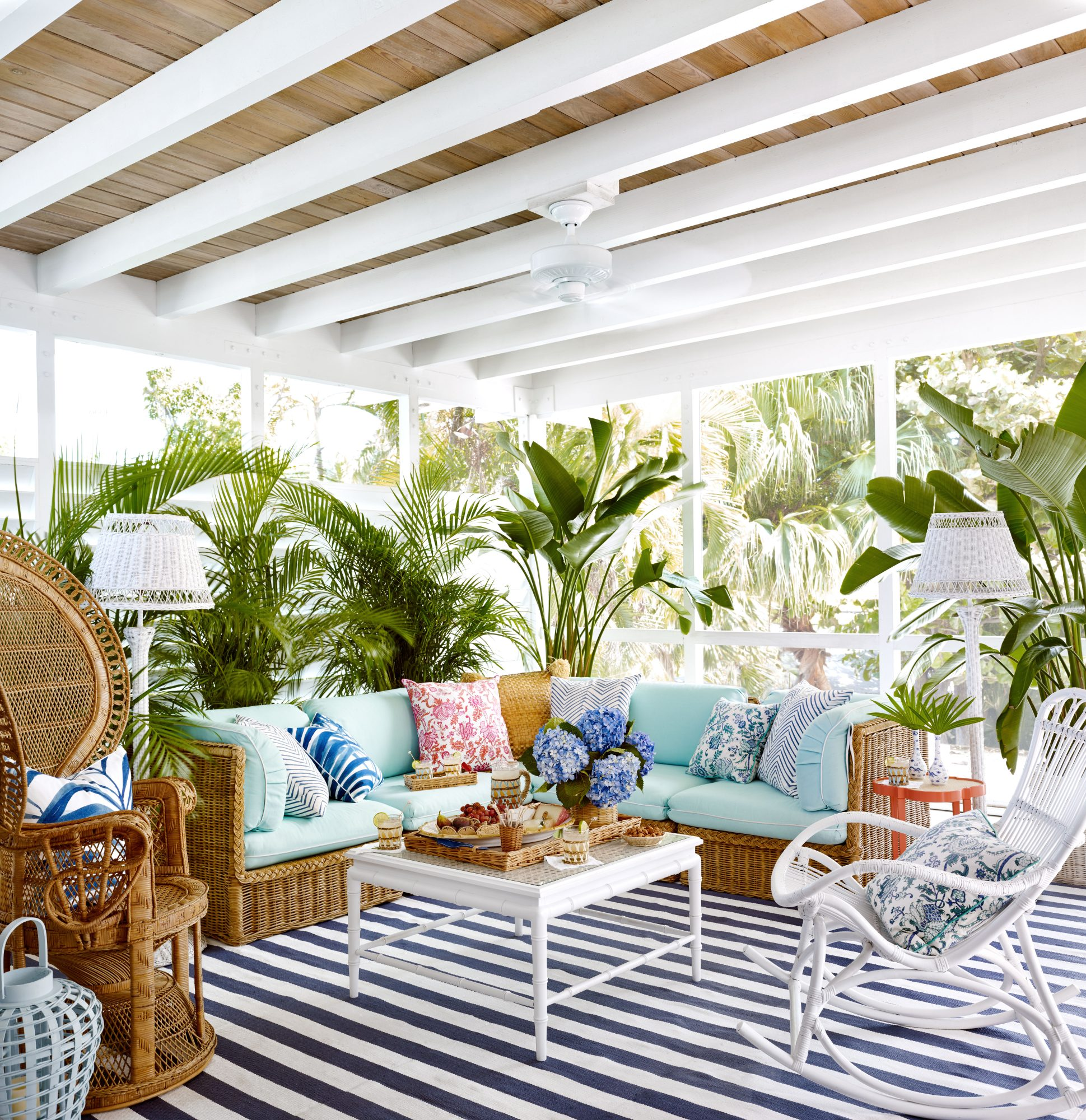 Emily Painter Palm Beach Rental Screened Porch Sitting Area