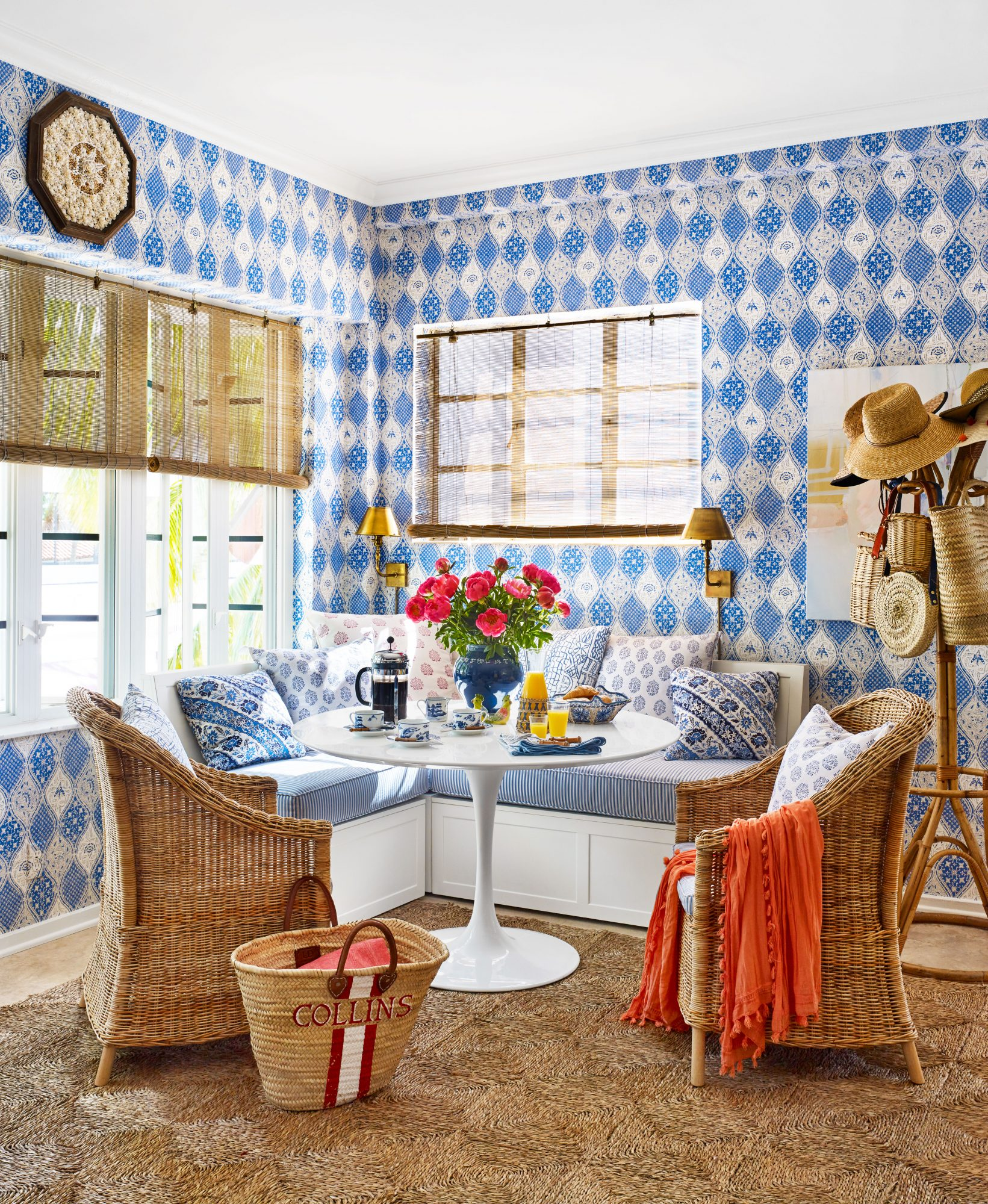 Emily Painter Palm Beach Rental Dining Area wit Blue Wallpaper and White Tulip Table