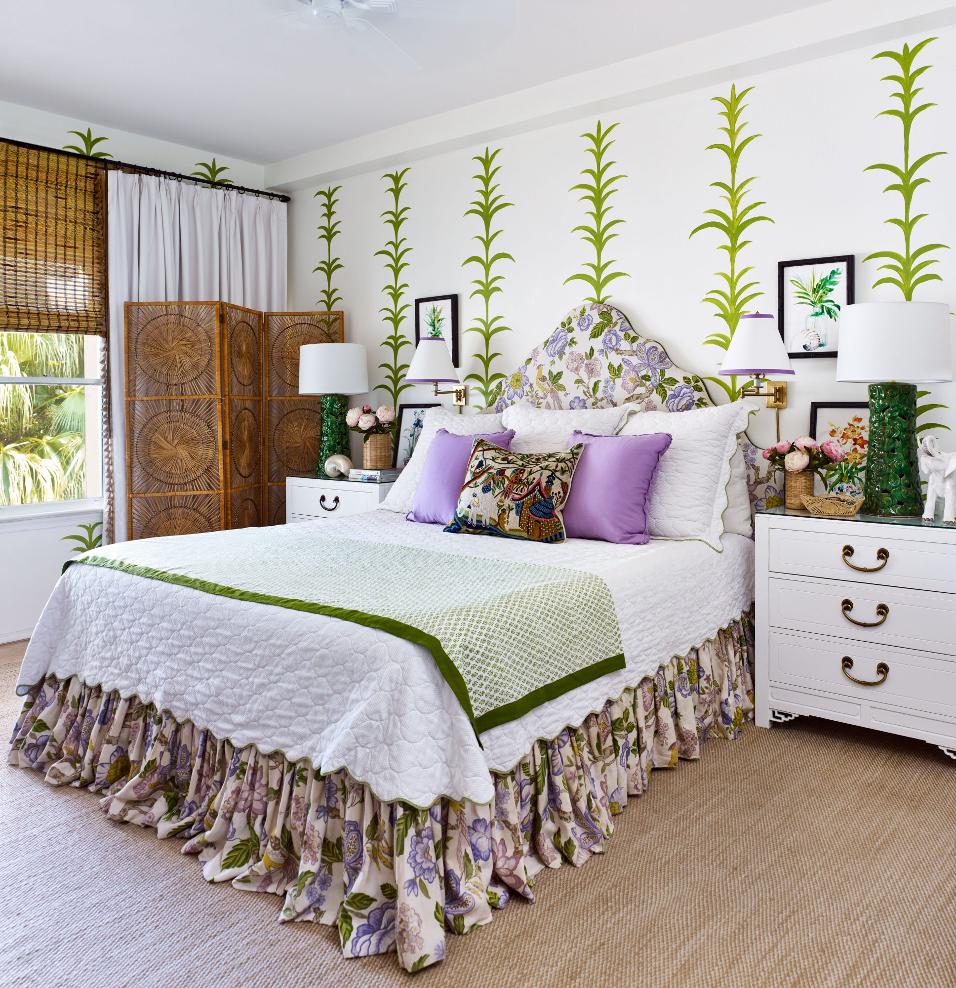 Emily Painter Palm Beach Rental Main Bedroom in Green and Purple
