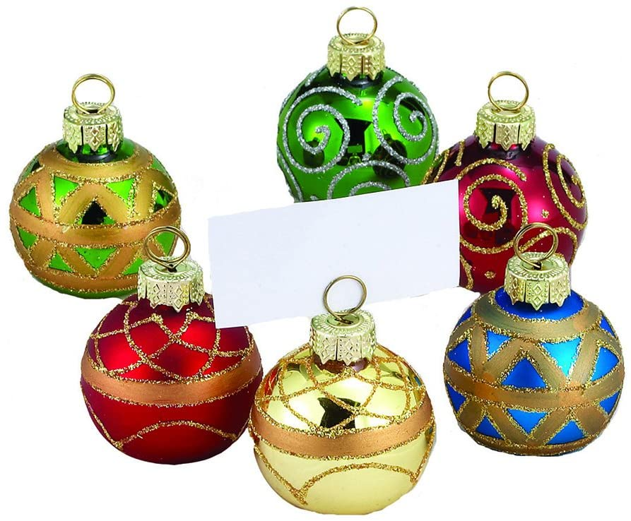 Give your dinner table a big dose of holiday cheer with these colorful ball ornaments that double as place card holders. Bonus: At the end of the meal, guests can take the holders home as party favors for their tree.Buy it: $10 for 6; amazon.com
