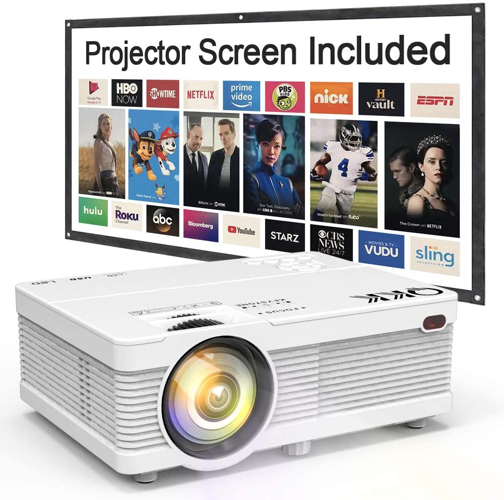 "QKK Mini Projector 4500Lumens Portable LCD Projector [100"" Projector Screen Included]"