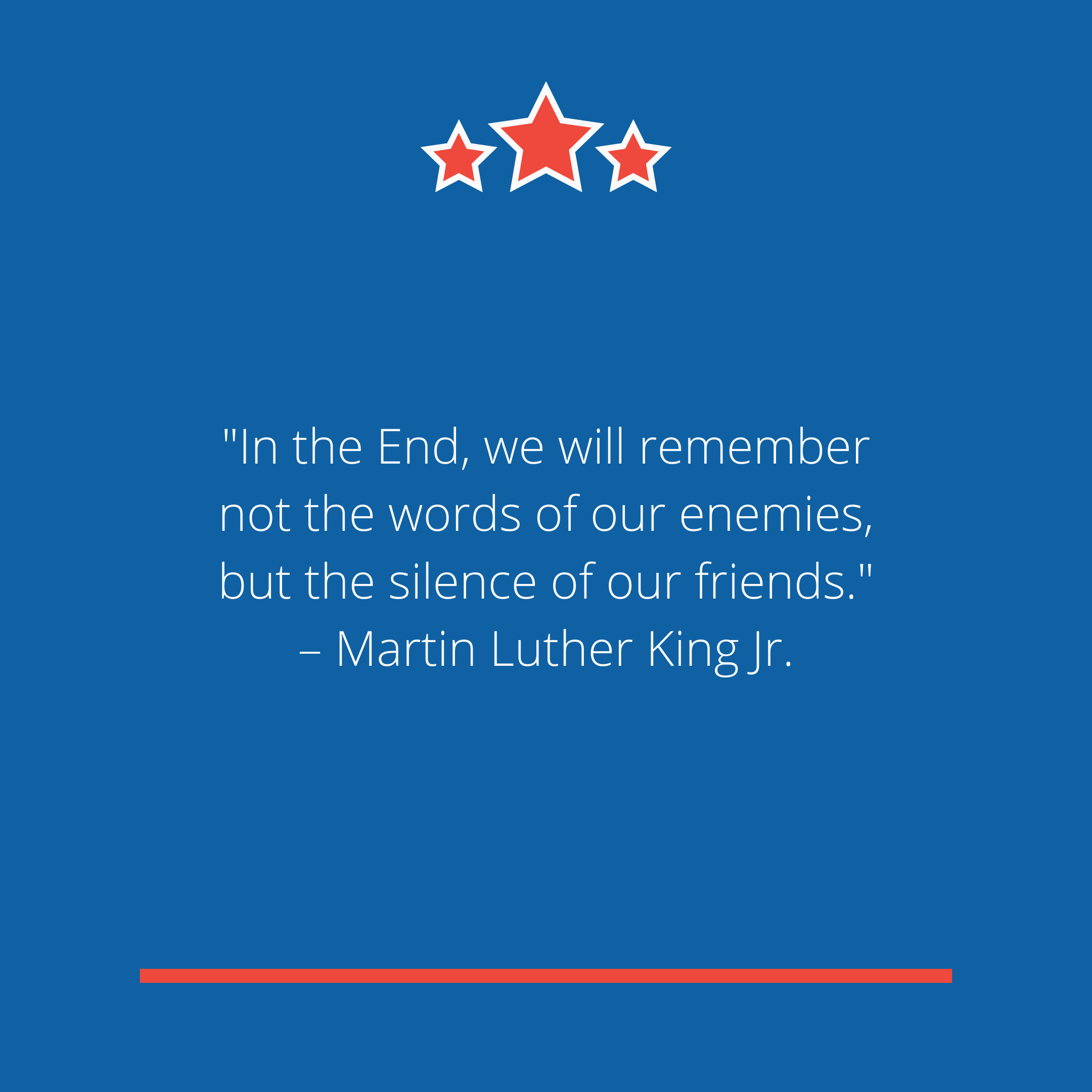 """In the End, we will remember not the words of our enemies, but the silence of our friends."" –Martin Luther King Jr."