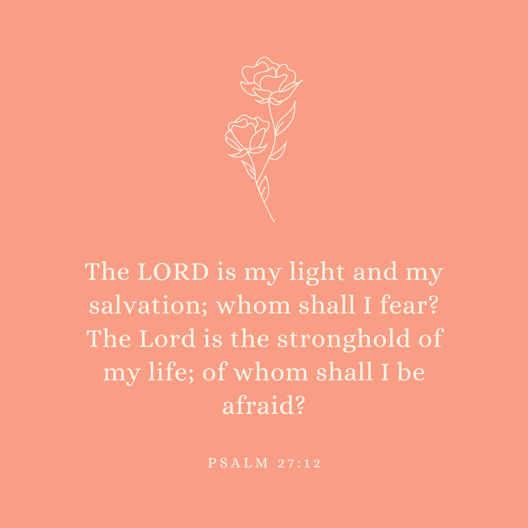 Psalm 27:12 The LORD is my light and my salvation; whom shall I fear? The Lord is the stronghold of my life; of whom shall I be afraid?