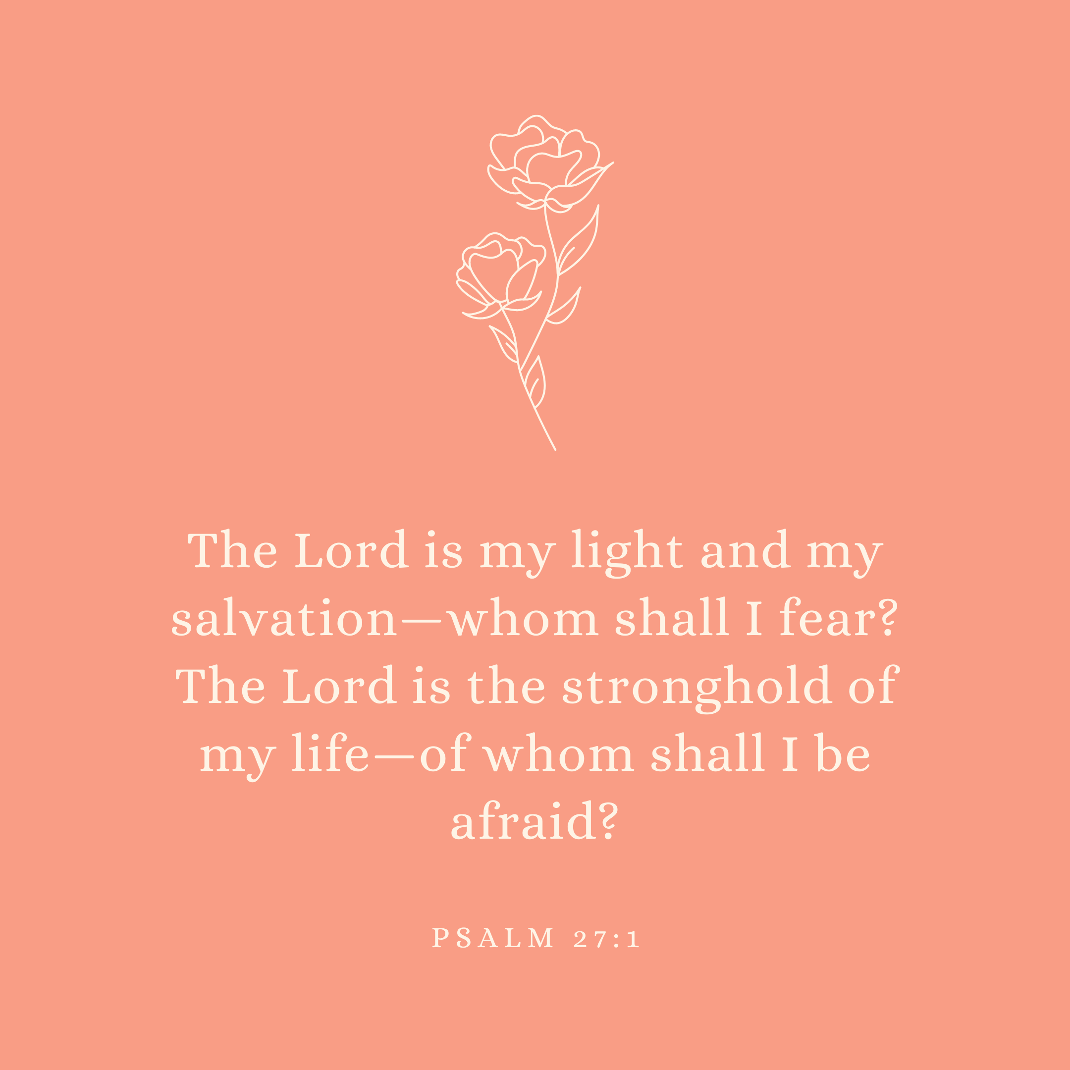 Psalm 27:1 The Lord is my light and my salvation—whom shall I fear? The Lord is the stronghold of my life—of whom shall I be afraid?