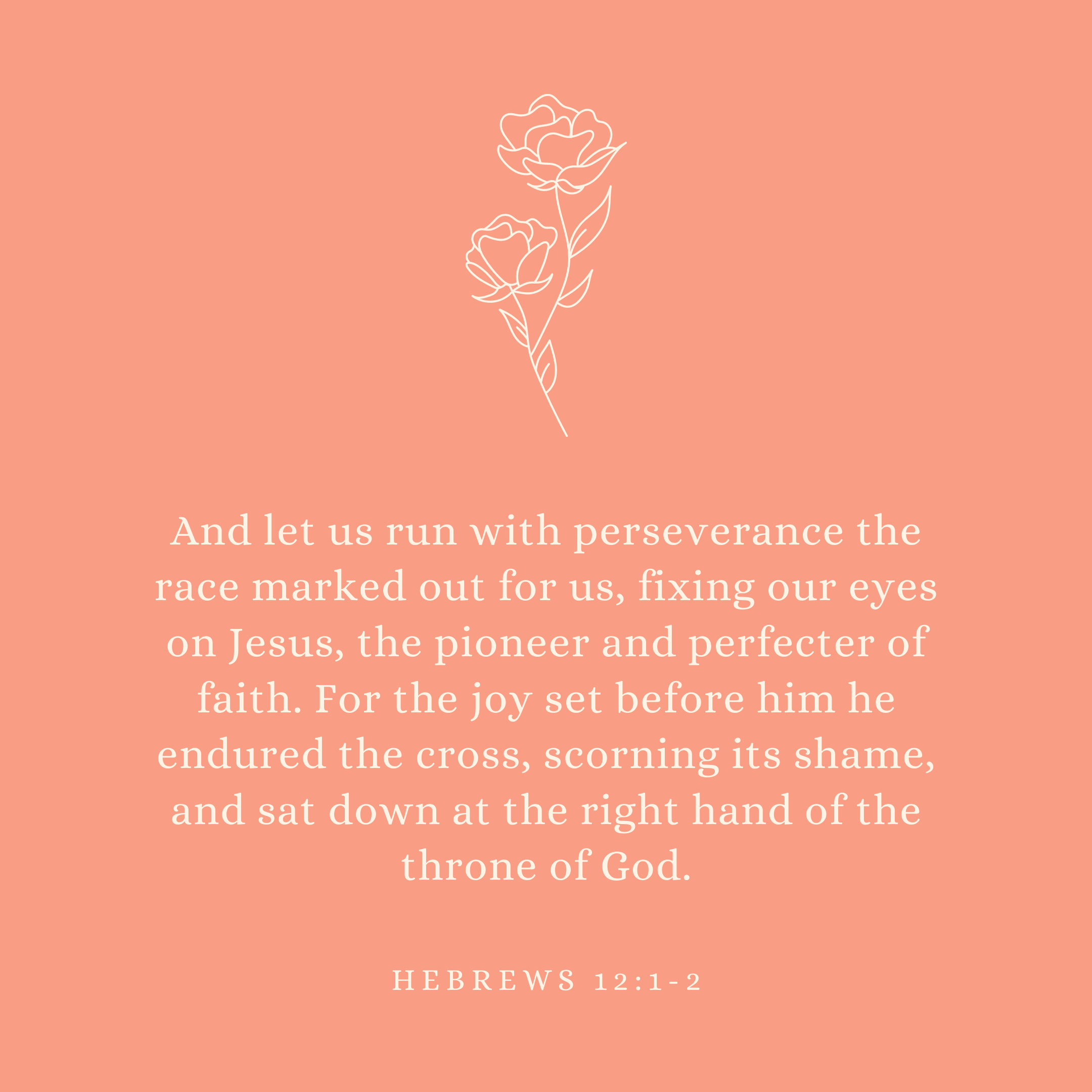 Hebrews 12:1-2 And let us run with perseverance the race marked out for us, fixing our eyes on Jesus, the pioneer and perfecter of faith. For the joy set before him he endured the cross, scorning its shame, and sat down at the right hand of the throne of God.