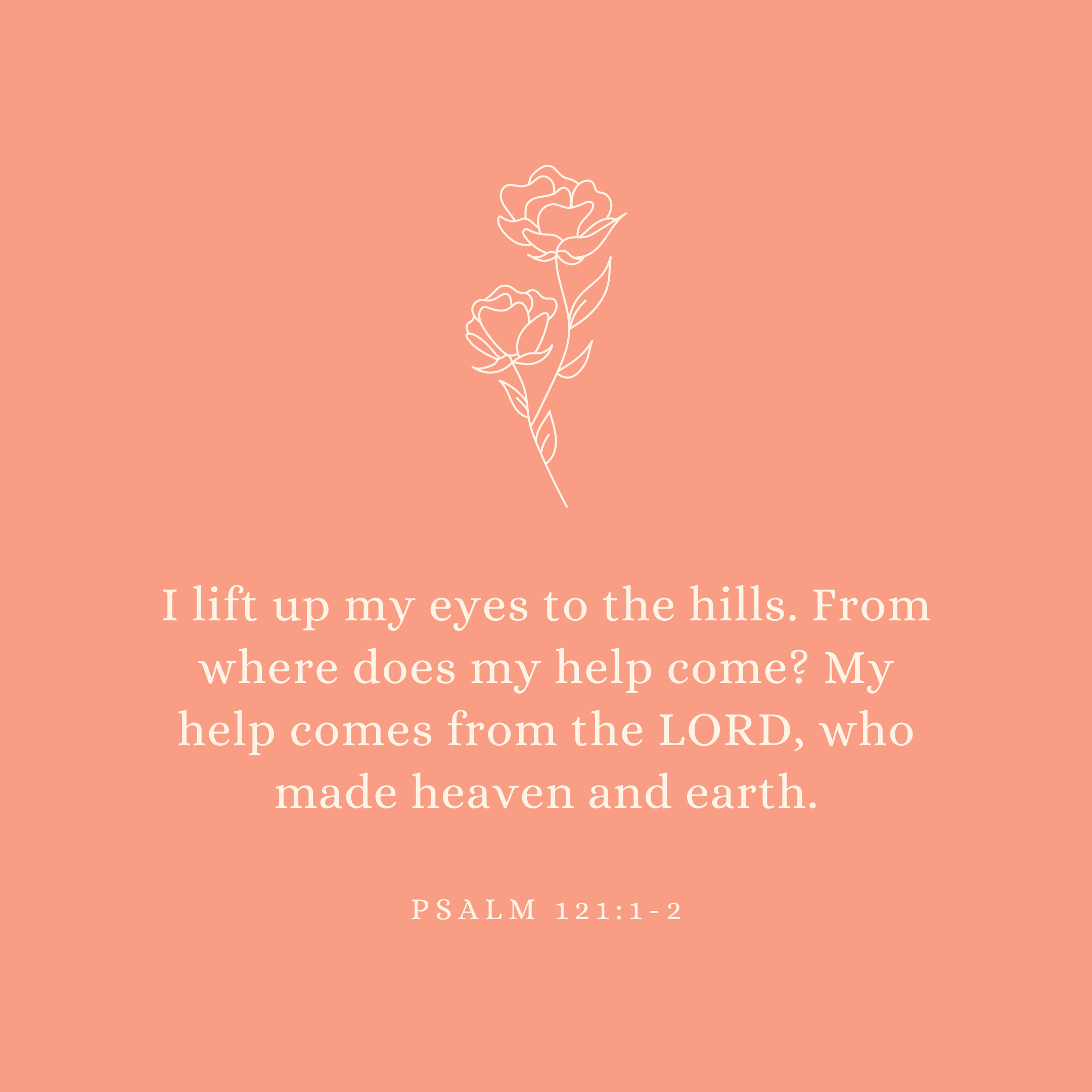 Psalm 121:1-2 I lift up my eyes to the hills. From where does my help come? My help comes from the LORD, who made heaven and earth.
