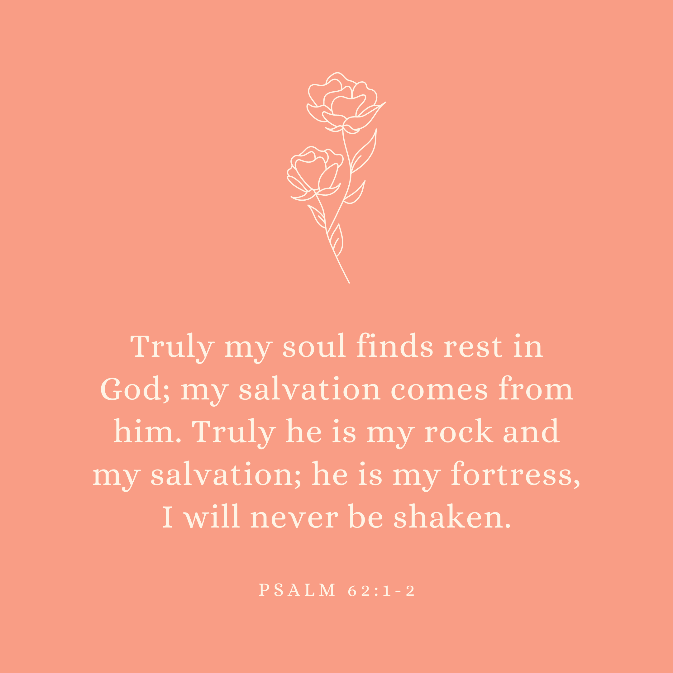 Psalm 62:1-2 Truly my soul finds rest in God; my salvation comes from him. Truly he is my rock and my salvation; he is my fortress, I will never be shaken.