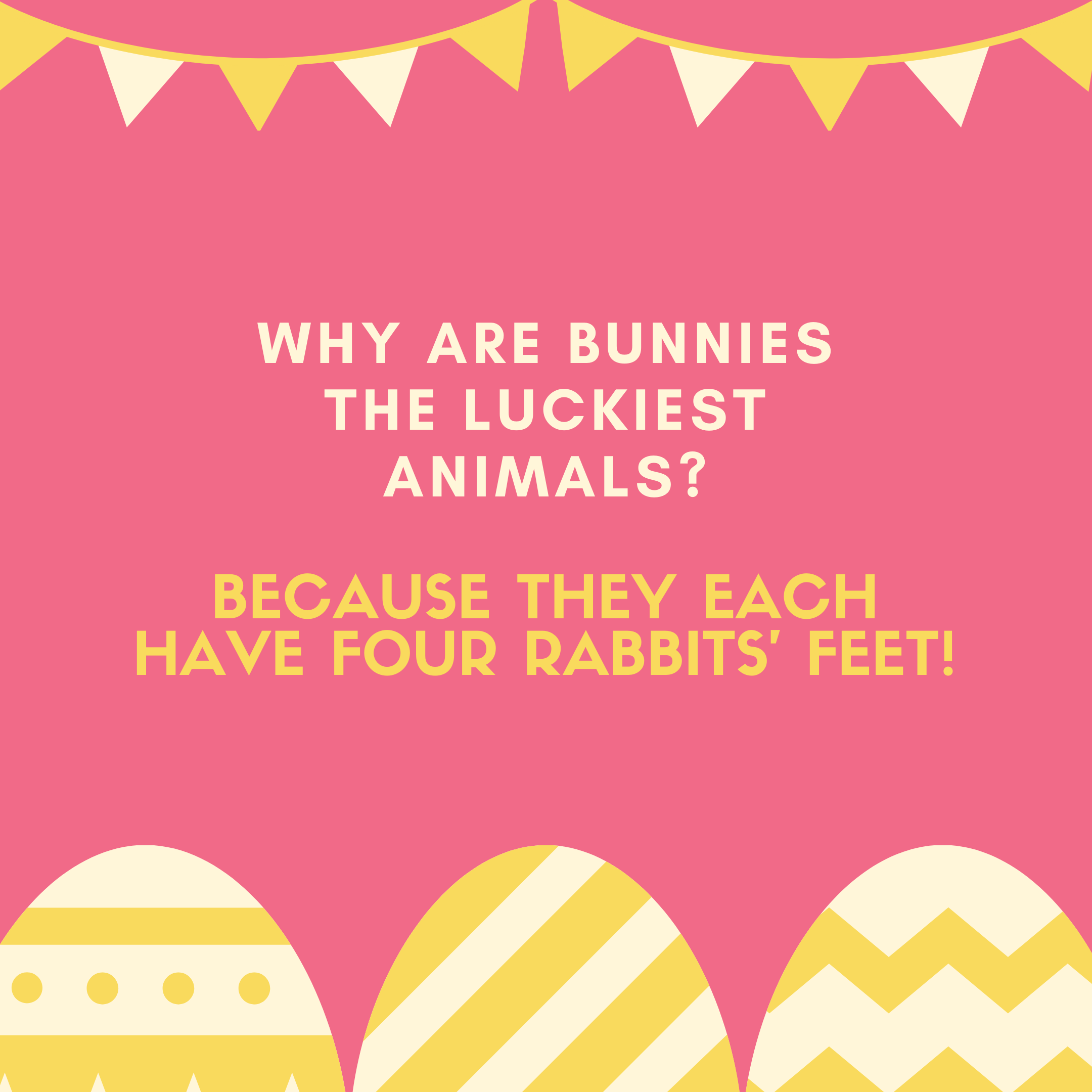 Because they each have four rabbits' feet!