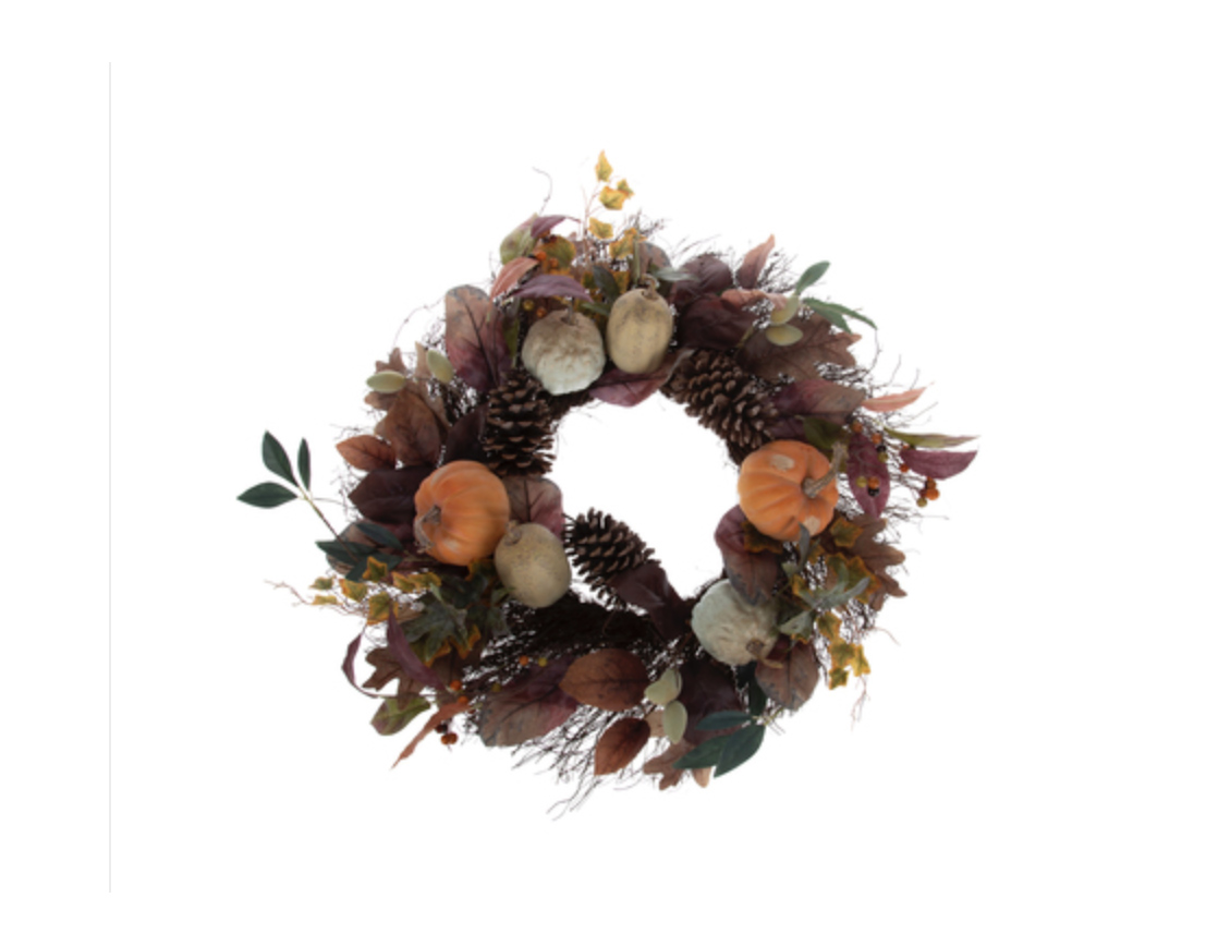 Fall Pumpkin Pinecone Berry Wreath