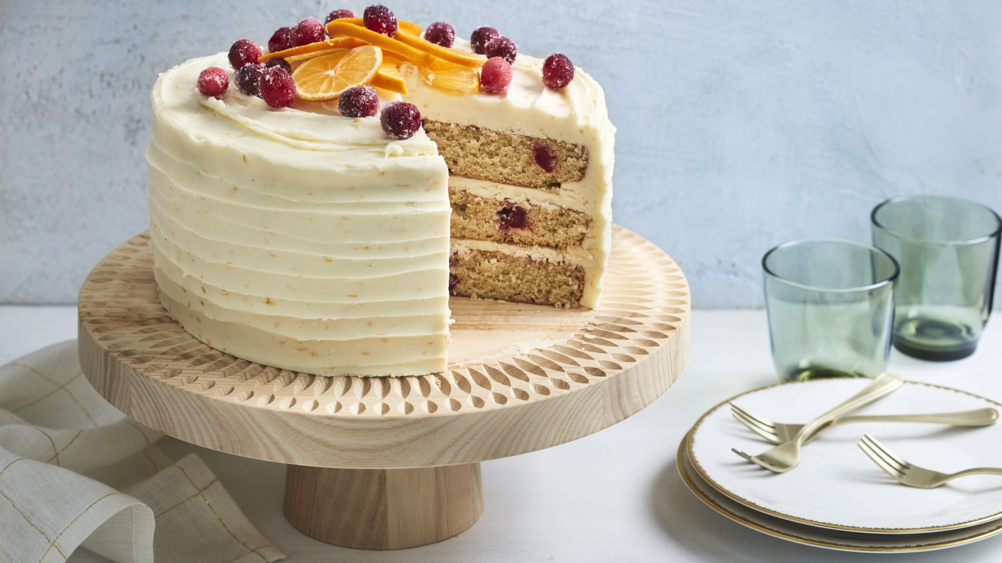 Cranberry-Orange Cake with Orange Buttercream
