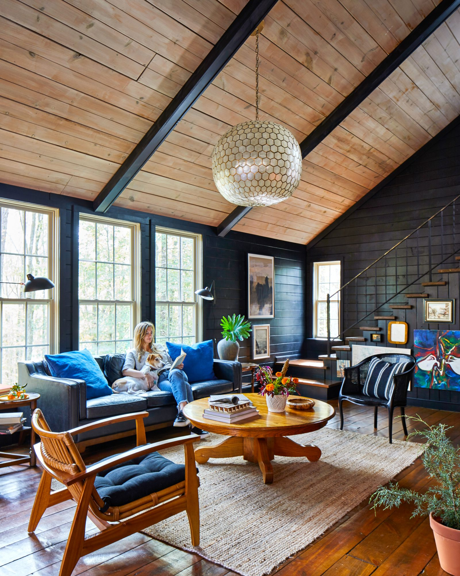 Alabama Cabin with Dark Black Walls and Natural Wood Vaulted Ceiling
