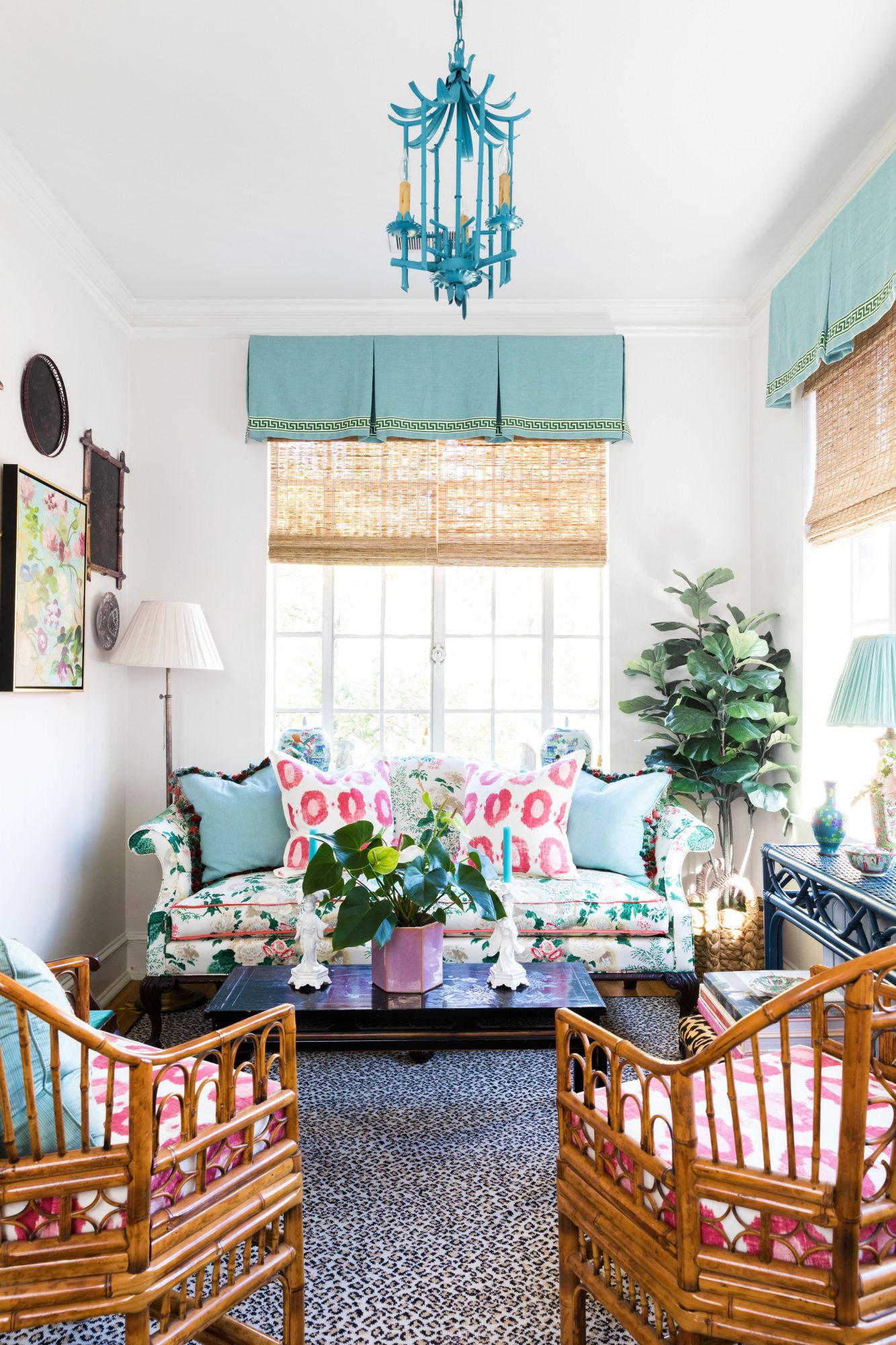 Bright Sunroom with Teal and Pink Accents