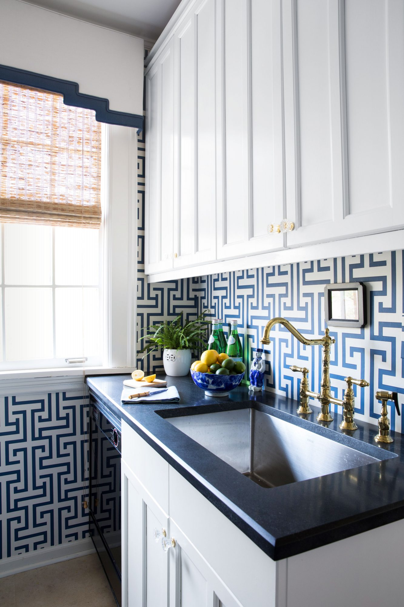 Small Space Kitchen with Blue and White Wallpaper