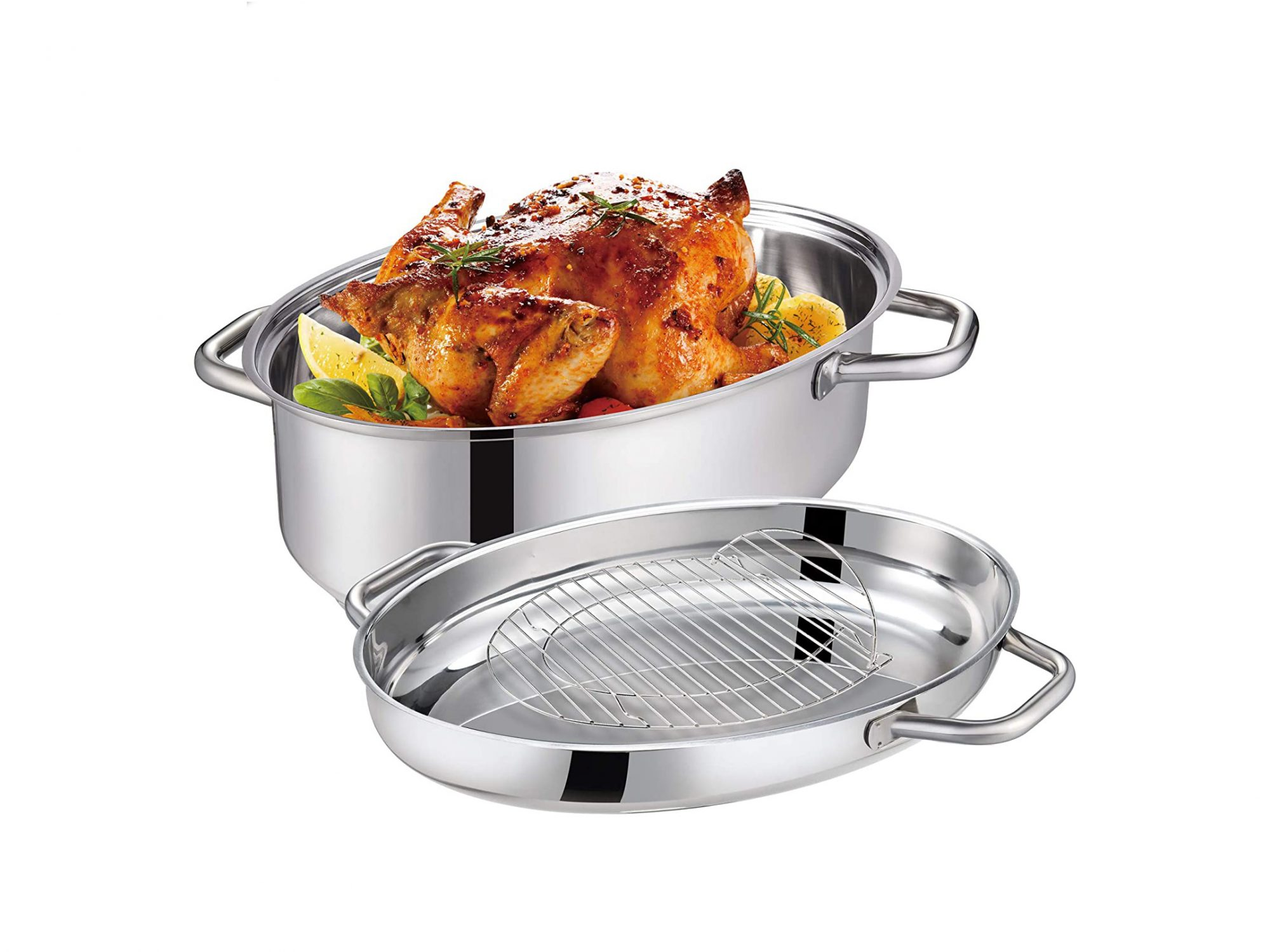 Mr Rudolf 15 inch Roasting Pan with Lid and Rack