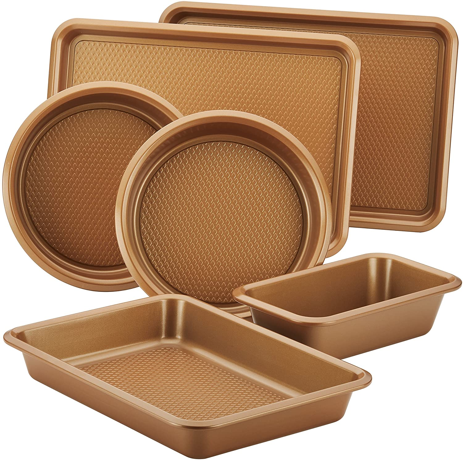 """An extended edge for easy handling is just the start for this six-piece pan and sheet set, available in copper brown and silver. High-performance steel construction pairs with a diamond textured surface for a durable, nonstick bake that delivers a quality recipe every time. Oven-safe up to 450 degrees Fahrenheit and dishwasher-safe for an easy clean, this set has all the essential baking bases covered. As one shopperput it, """"The price is unbelievable for the quality."""