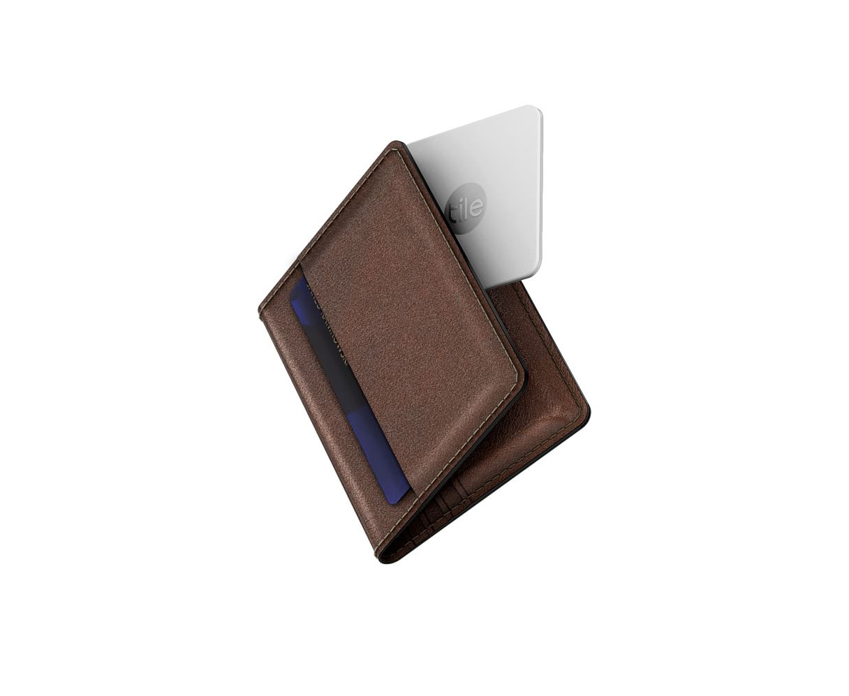 Leather Slim Wallet with Tile