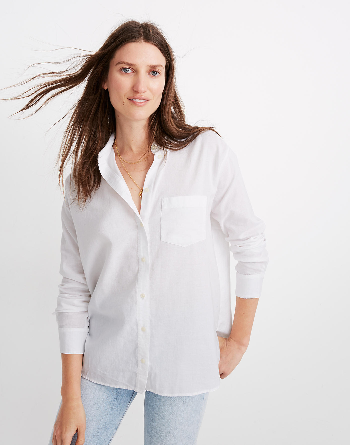 A Classic White Button Down: Madewell Oversized Ex-Boyfriend Shirt