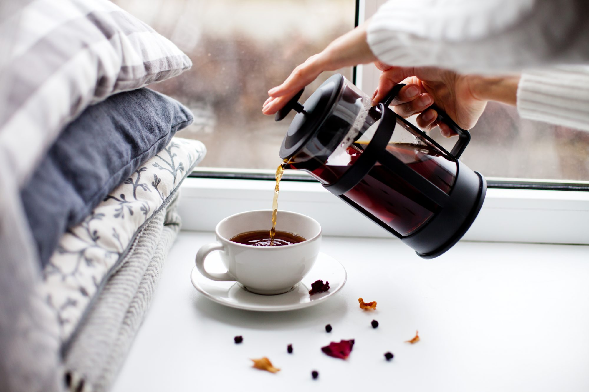 Pouring French Press Coffee In Cup
