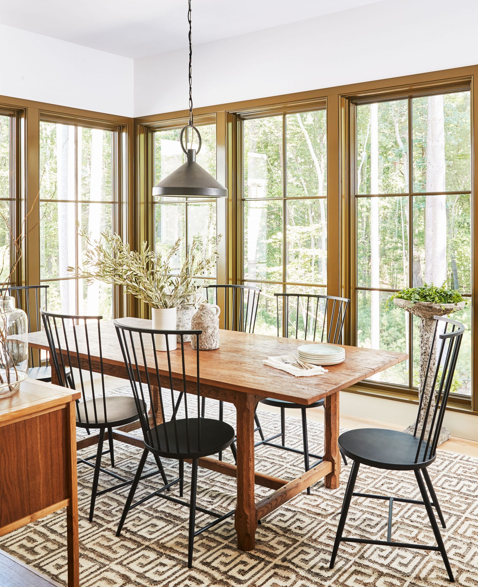 Idea House 2020 Dining Room with White Walls, Wood Dining Table, and Metal Chairs
