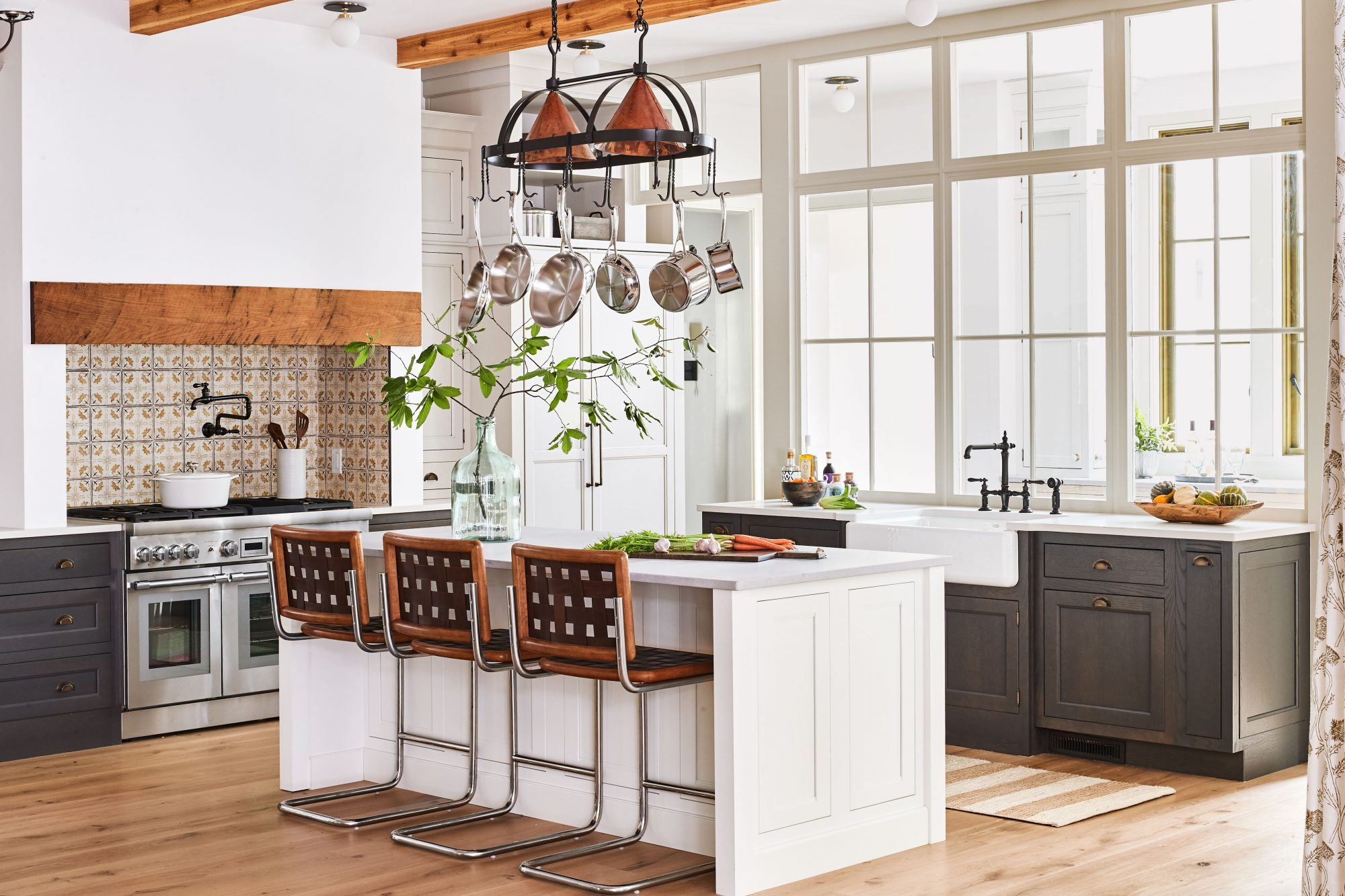 Idea House 2020 Kitchen with White Island and Dark lower Cabinets