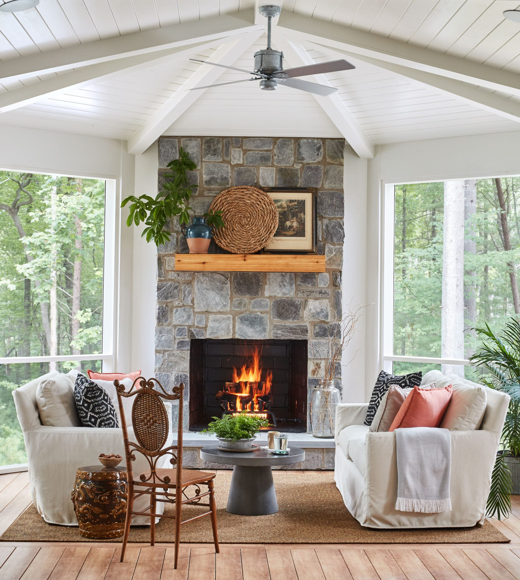 Idea House 2020 Screened Porch with Outdoor Stone Fireplace