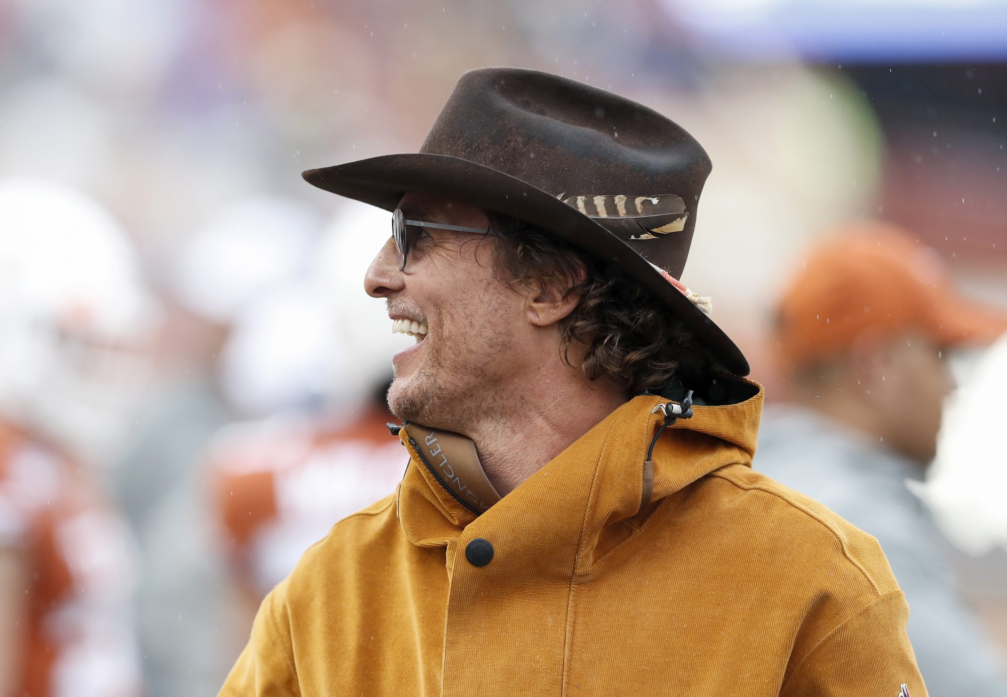 Actor Matthew McConaughey watches on the Texas Longhorns