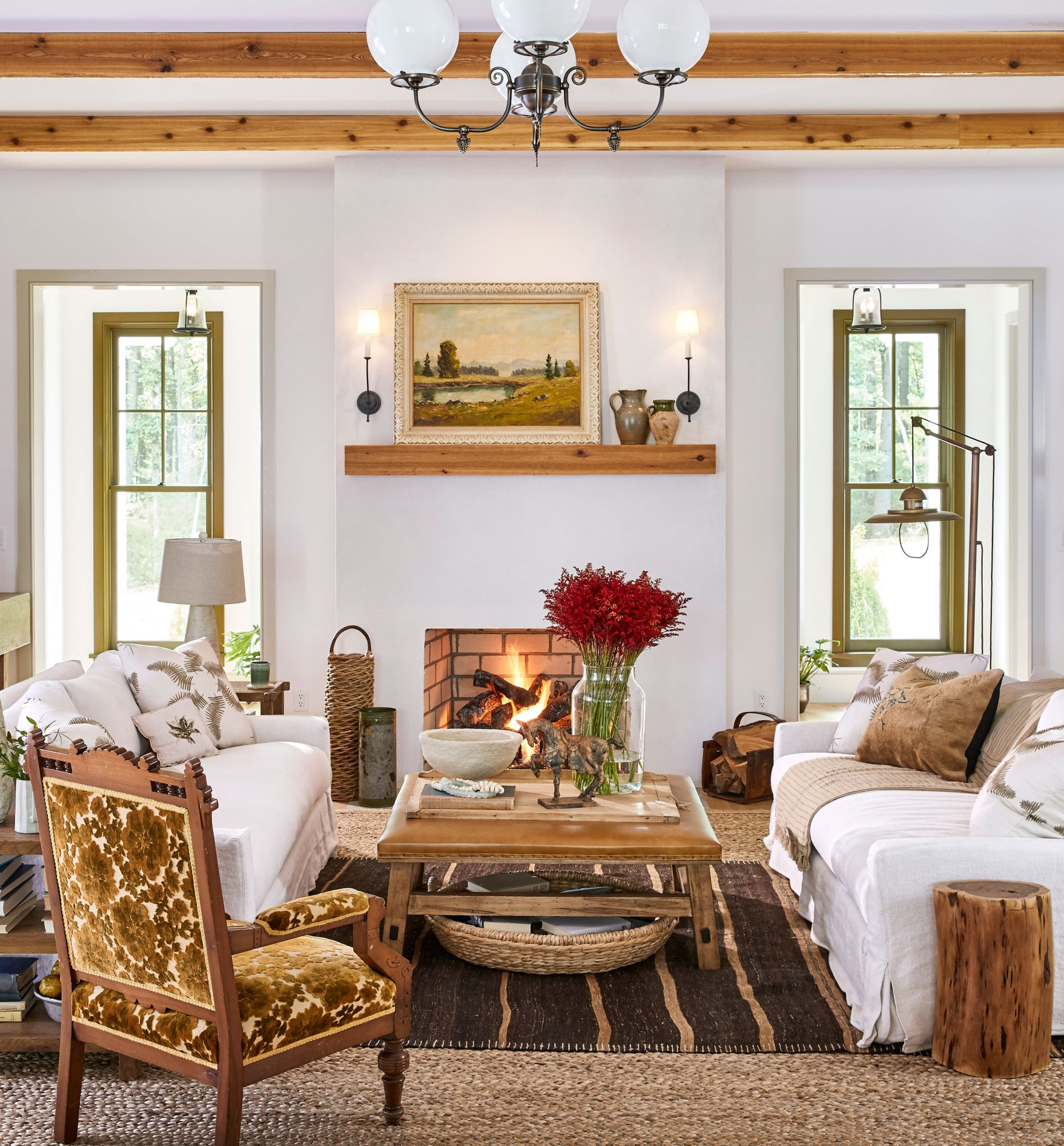 2020 Idea House Living Room with Wood Beams and Fireplace