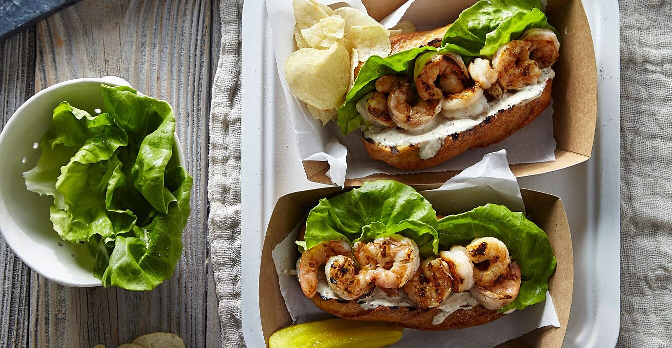 Grilled Shrimp Po'Boys with Quick Rémoulade Sauce Recipe
