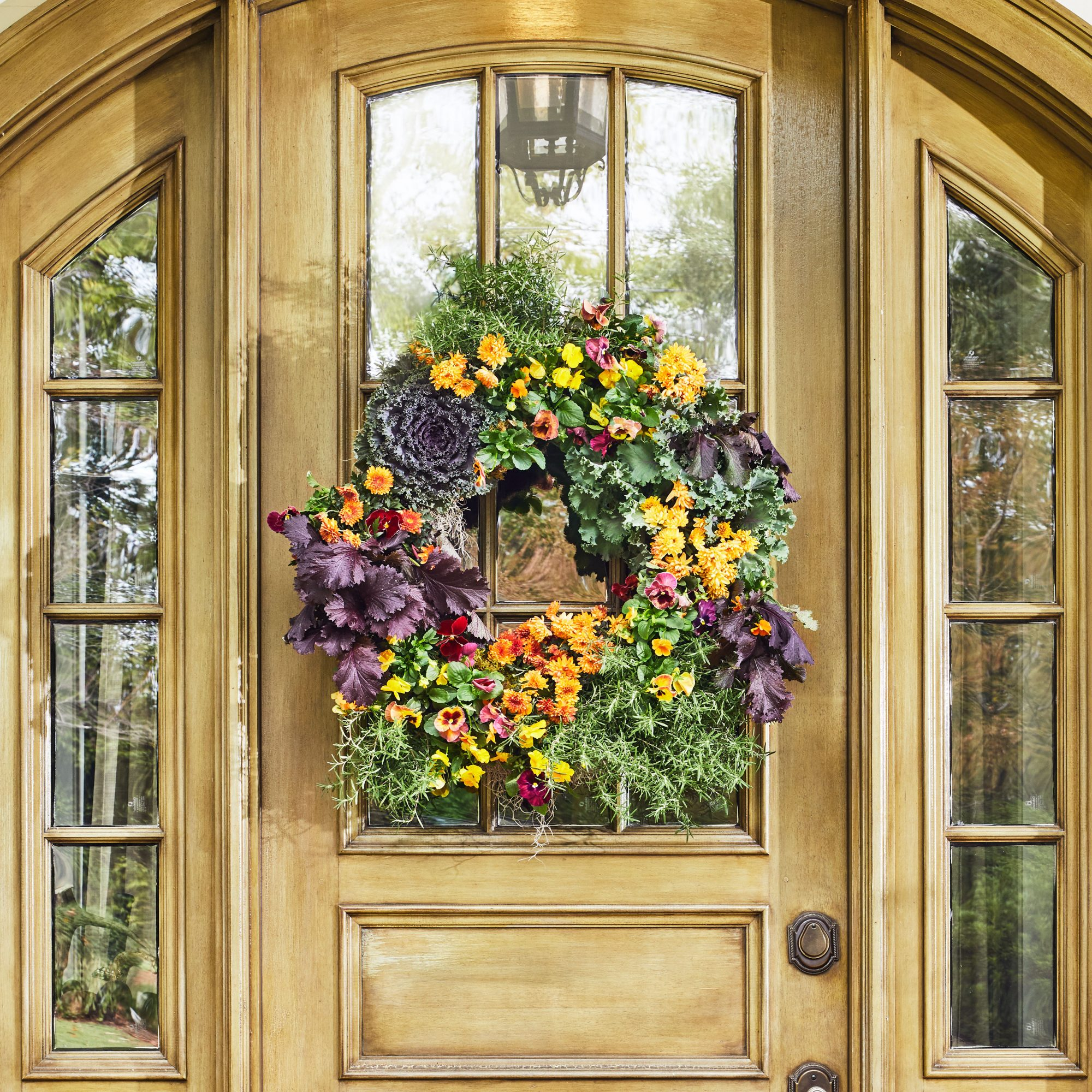 Fall Living Wreath with Flowering Kale, Pansies, and Violas