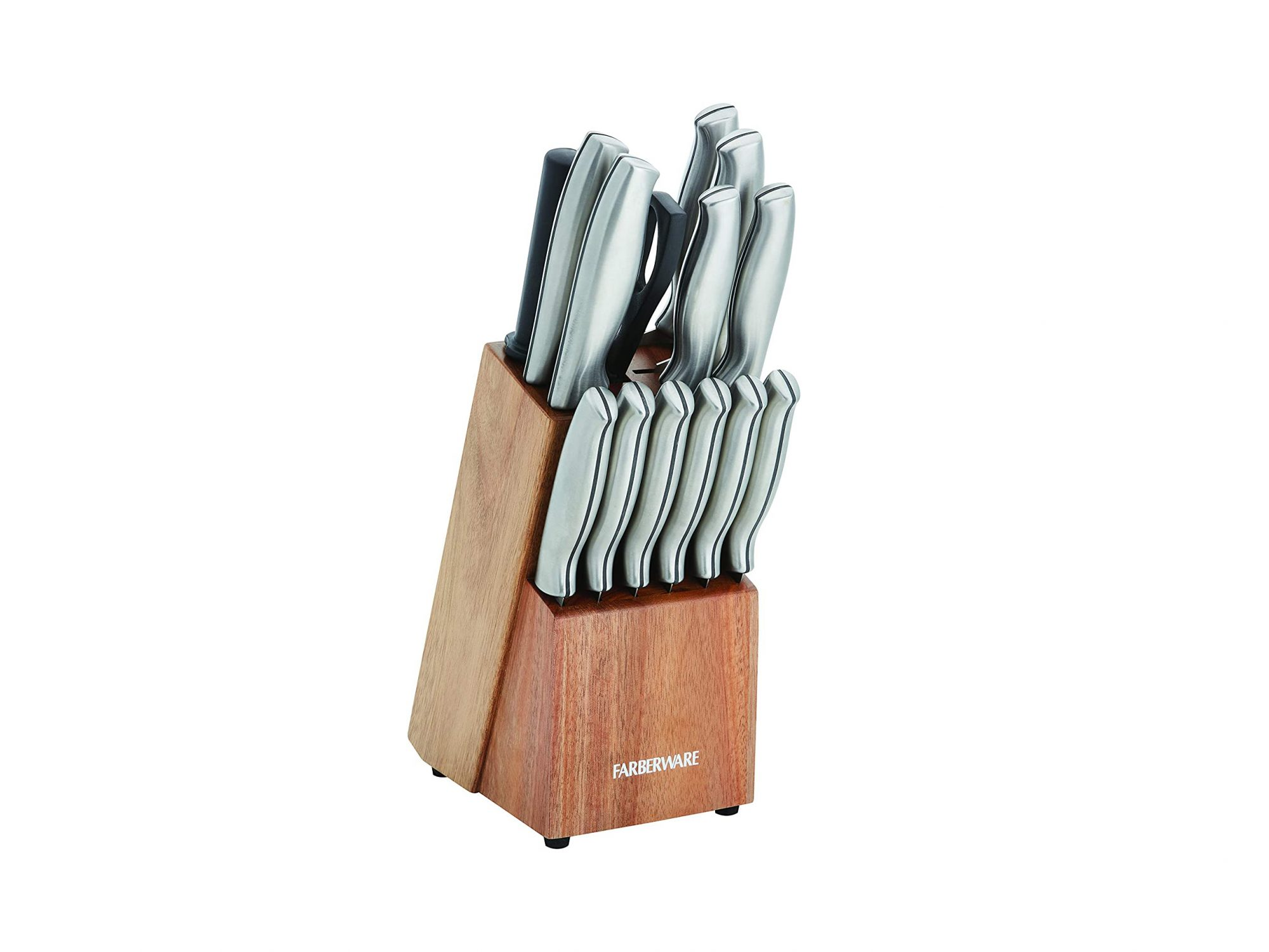 Farberware Stamped 15-Piece High-Carbon Stainless Steel Knife Block Set