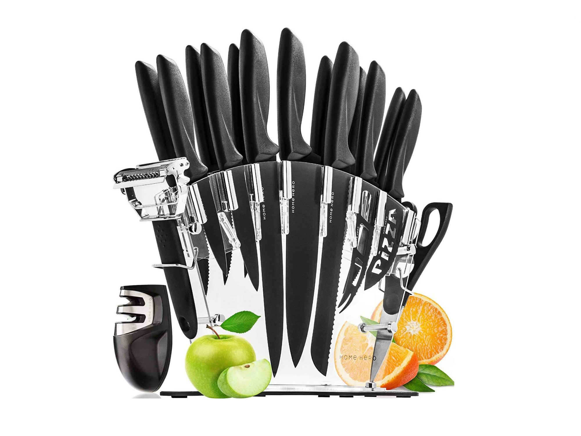 Home Hero Stainless Steel 17 Piece Knife Set with Block