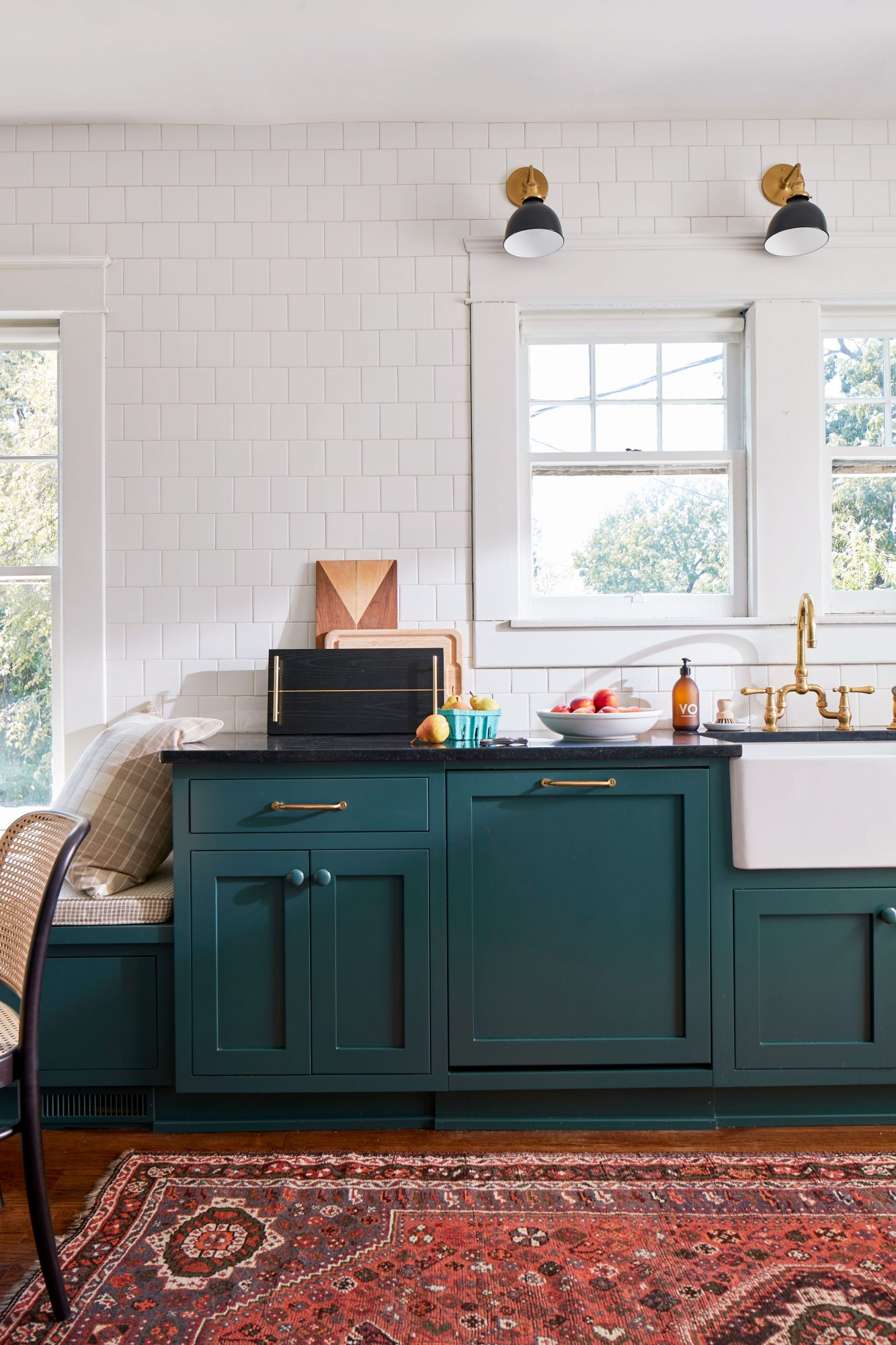 Ellen Godfrey's Birmingham Bungalow Kitchen with Teal Green Cabinets