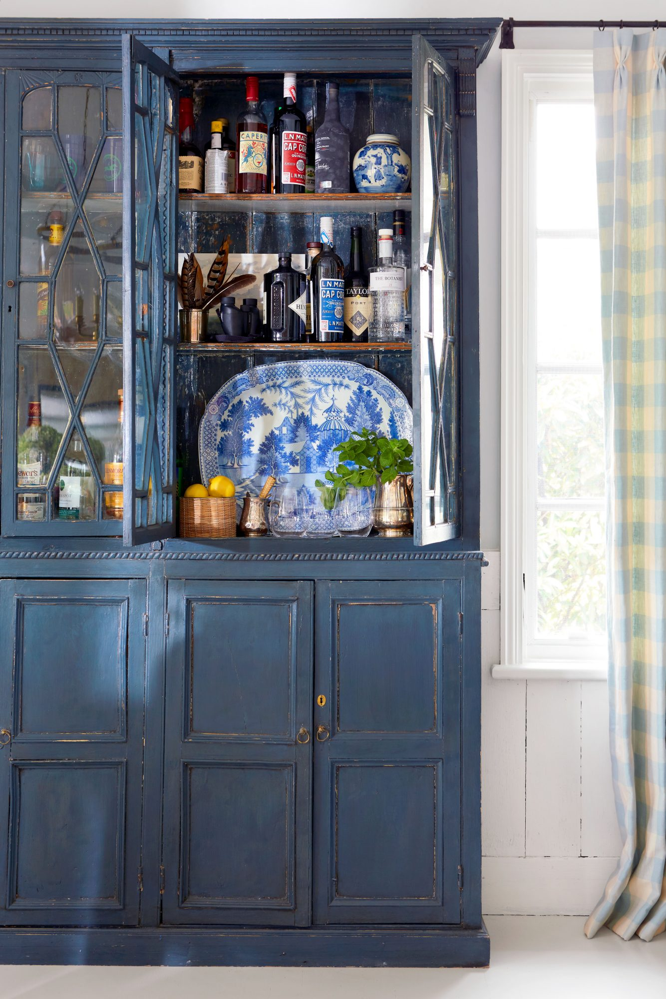 Madison Spencer Virginia Cottage Blue China Cabinet in Dining Room
