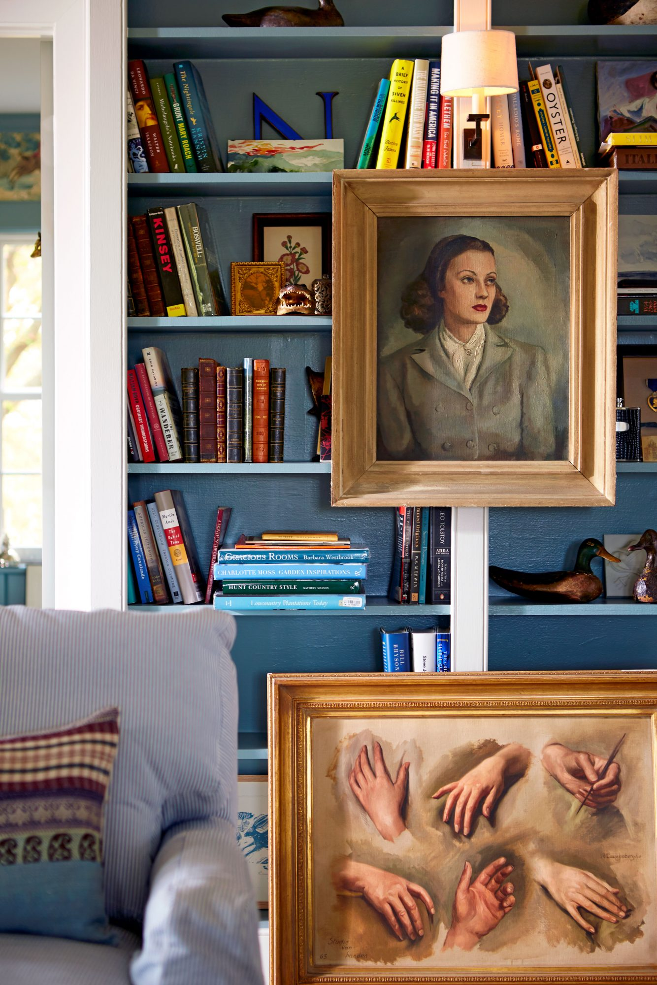 Madison Spencer Virginia Cottage Living Room Bookshelves with Painting of his Mother